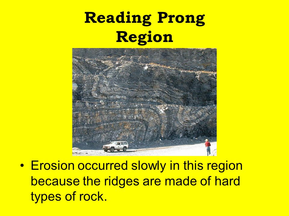 Reading Prong Region Erosion occurred slowly in this region because the ridges are made of hard types of rock.
