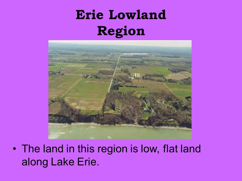 Erie Lowland Region The land in this region is low, flat land along Lake Erie.