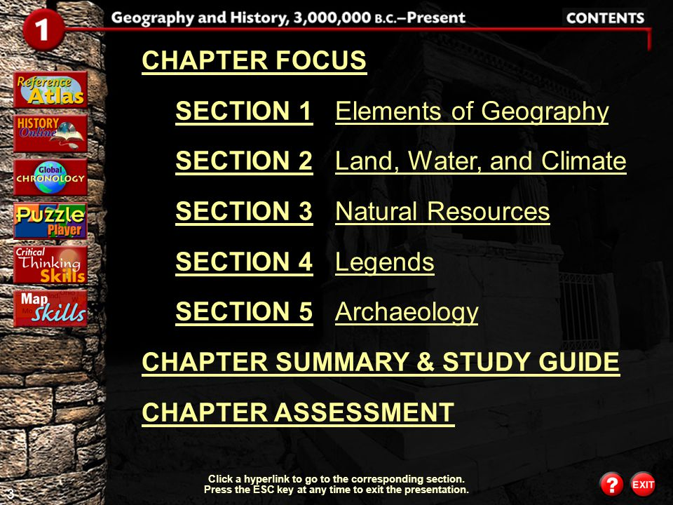 SECTION 1 Elements of Geography SECTION 2 Land, Water, and Climate