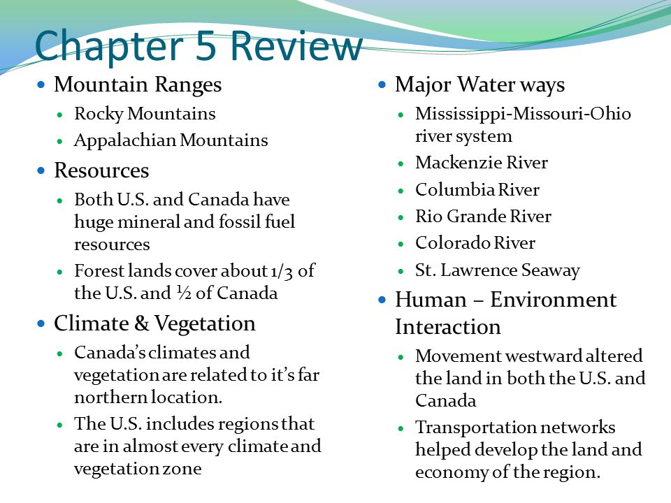 Chapter 5 Review Mountain Ranges Resources Climate & Vegetation