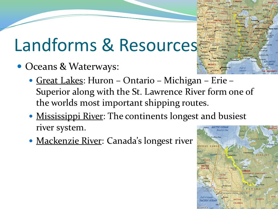 Landforms & Resources Oceans & Waterways: