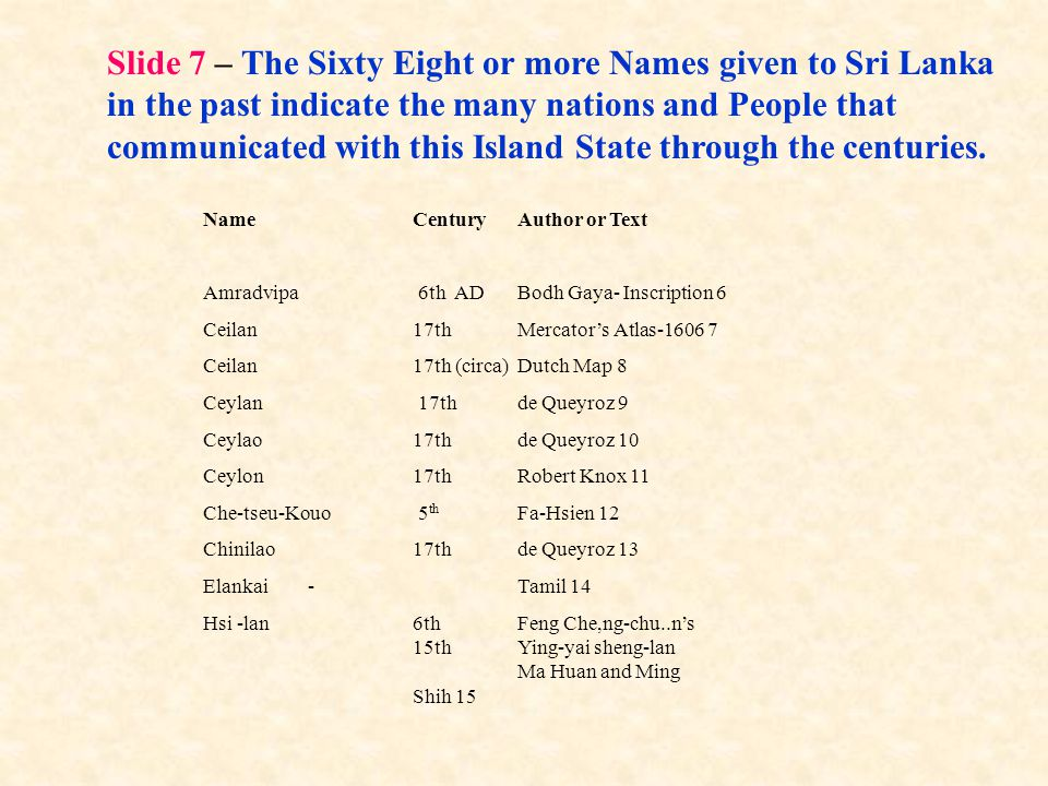 Slide 7 – The Sixty Eight or more Names given to Sri Lanka in the past indicate the many nations and People that communicated with this Island State through the centuries.