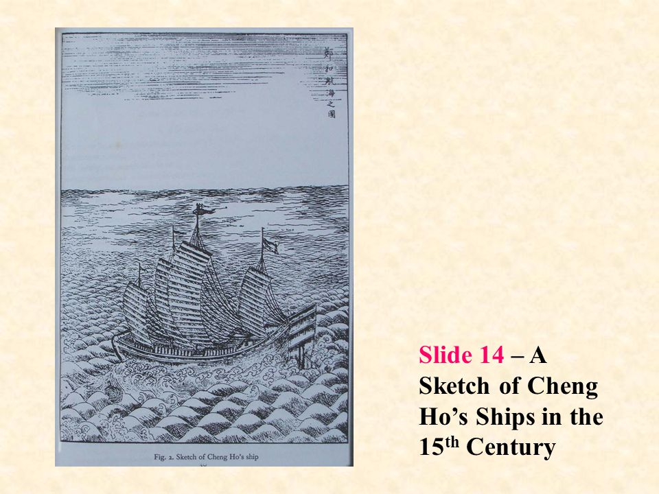 Slide 14 – A Sketch of Cheng Ho's Ships in the 15th Century