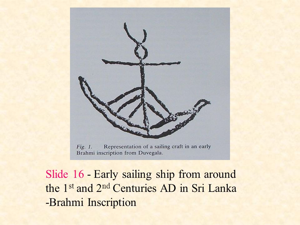 Slide 16 - Early sailing ship from around the 1st and 2nd Centuries AD in Sri Lanka
