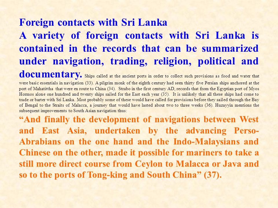 Foreign contacts with Sri Lanka