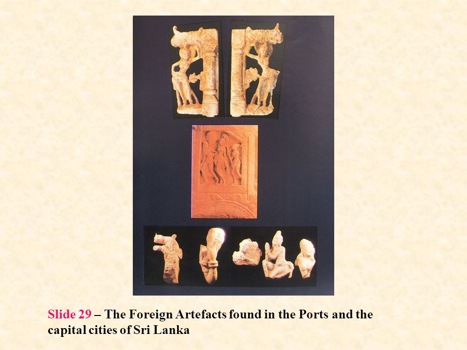 Slide 29 – The Foreign Artefacts found in the Ports and the capital cities of Sri Lanka