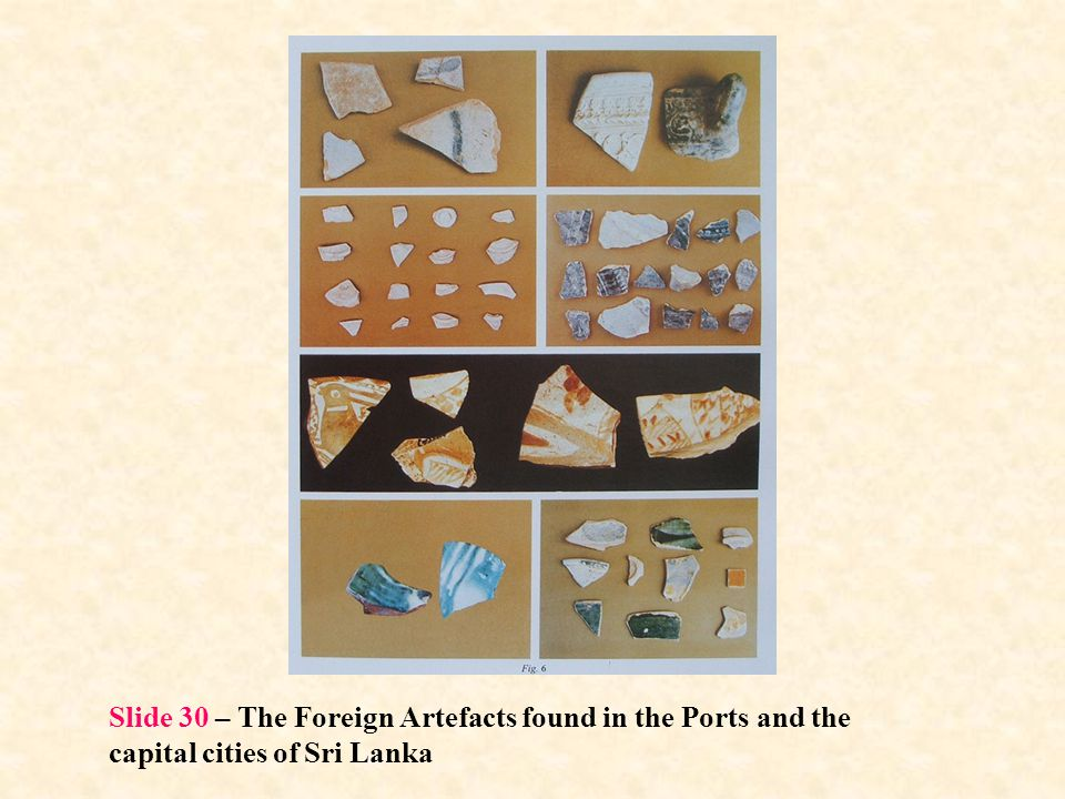 Slide 30 – The Foreign Artefacts found in the Ports and the capital cities of Sri Lanka