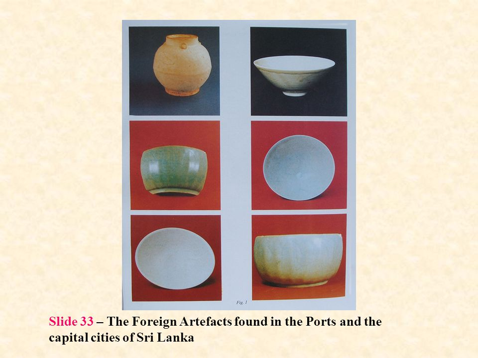 Slide 33 – The Foreign Artefacts found in the Ports and the capital cities of Sri Lanka