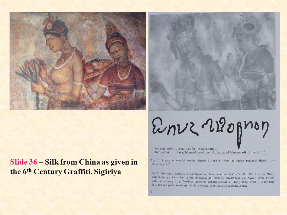 Slide 36 – Silk from China as given in the 6th Century Graffiti, Sigiriya