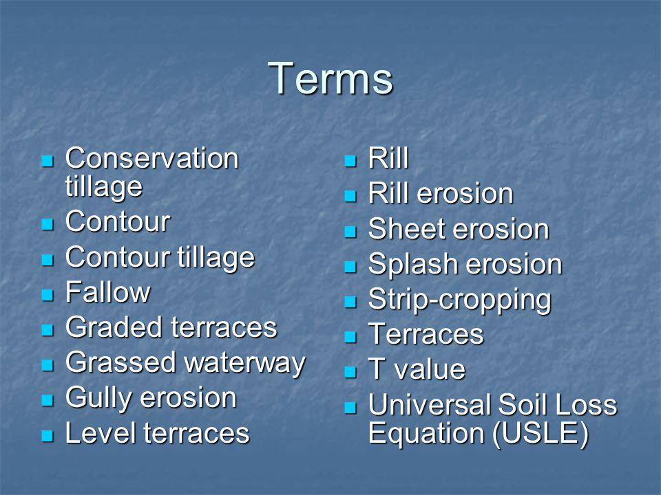 Terms Conservation tillage Contour Contour tillage Fallow