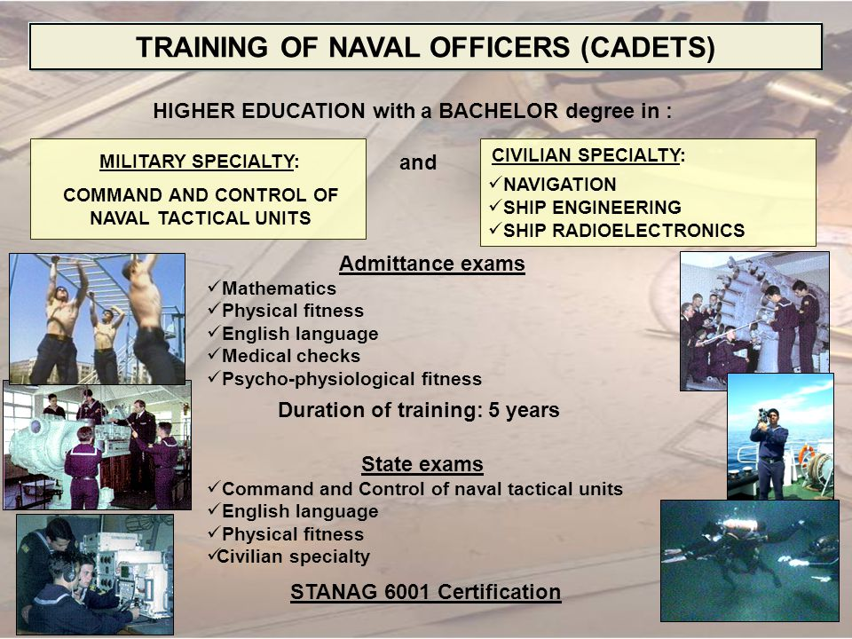 TRAINING OF NAVAL OFFICERS (CADETS)