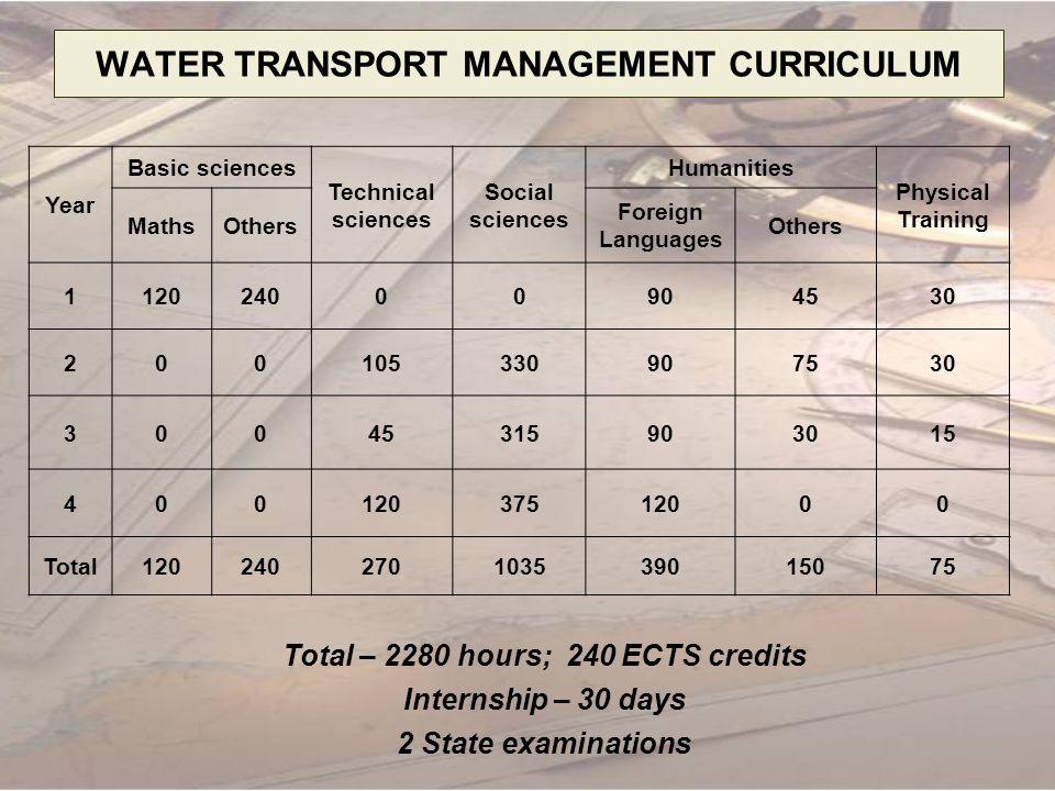 WATER TRANSPORT MANAGEMENT CURRICULUM