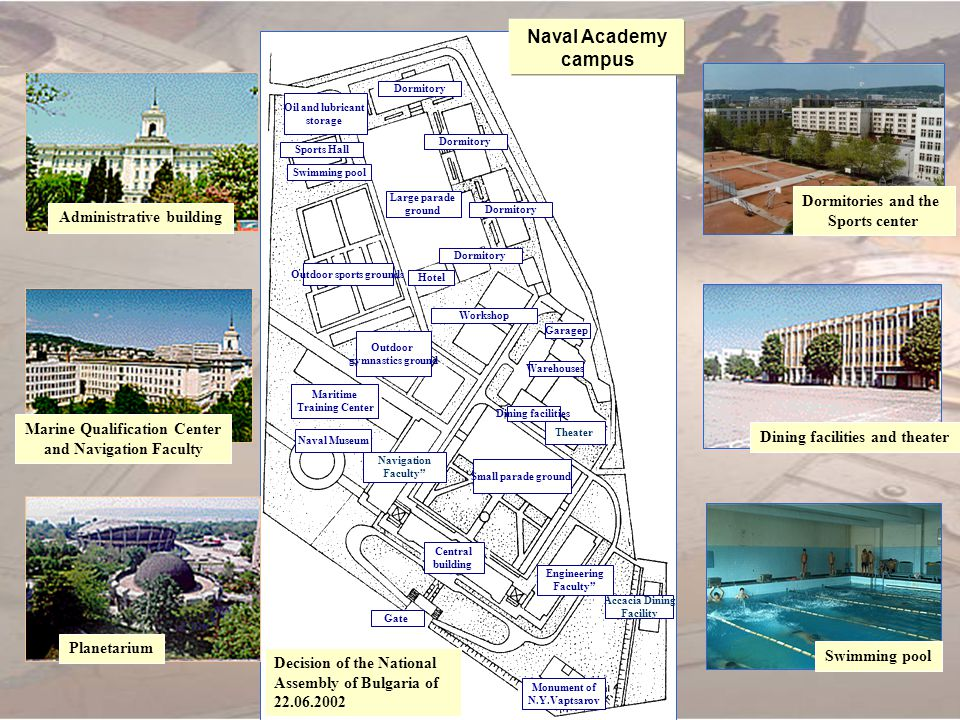 Naval Academy campus Dormitories and the Sports center