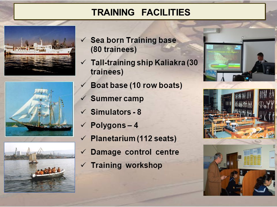 TRAINING FACILITIES Sea born Training base (80 trainees)