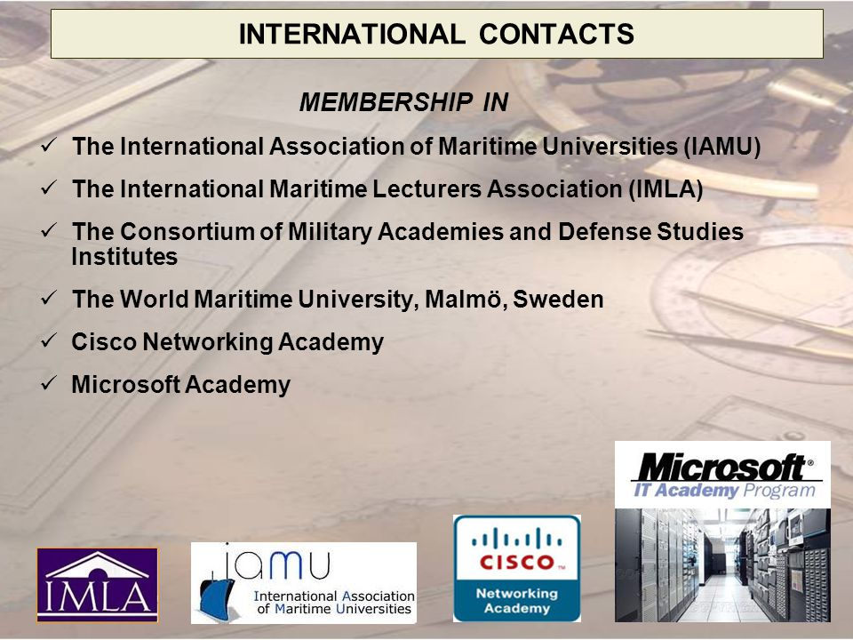 INTERNATIONAL CONTACTS