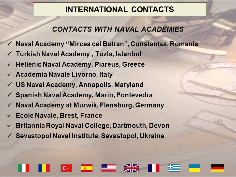 INTERNATIONAL CONTACTS CONTACTS WITH NAVAL ACADEMIES