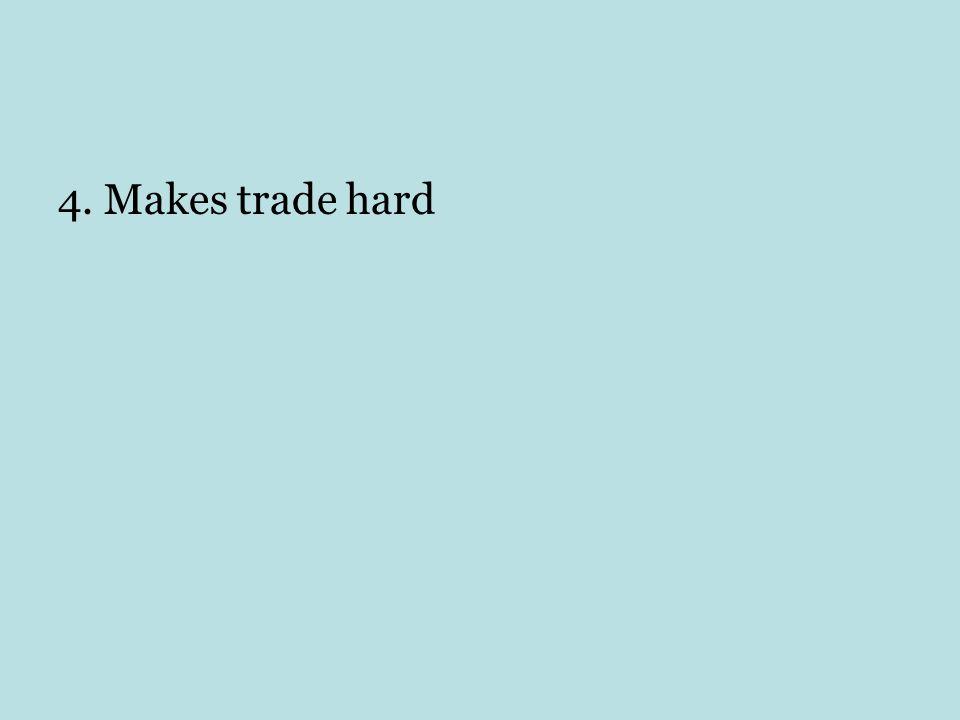 4. Makes trade hard