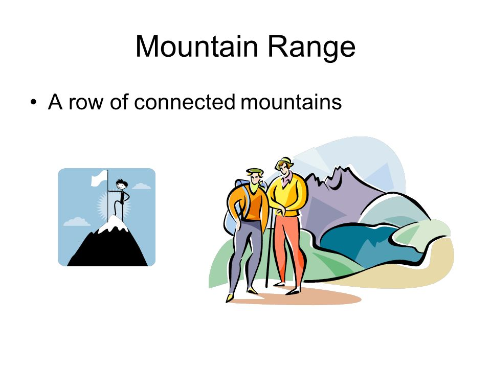 Mountain Range A row of connected mountains