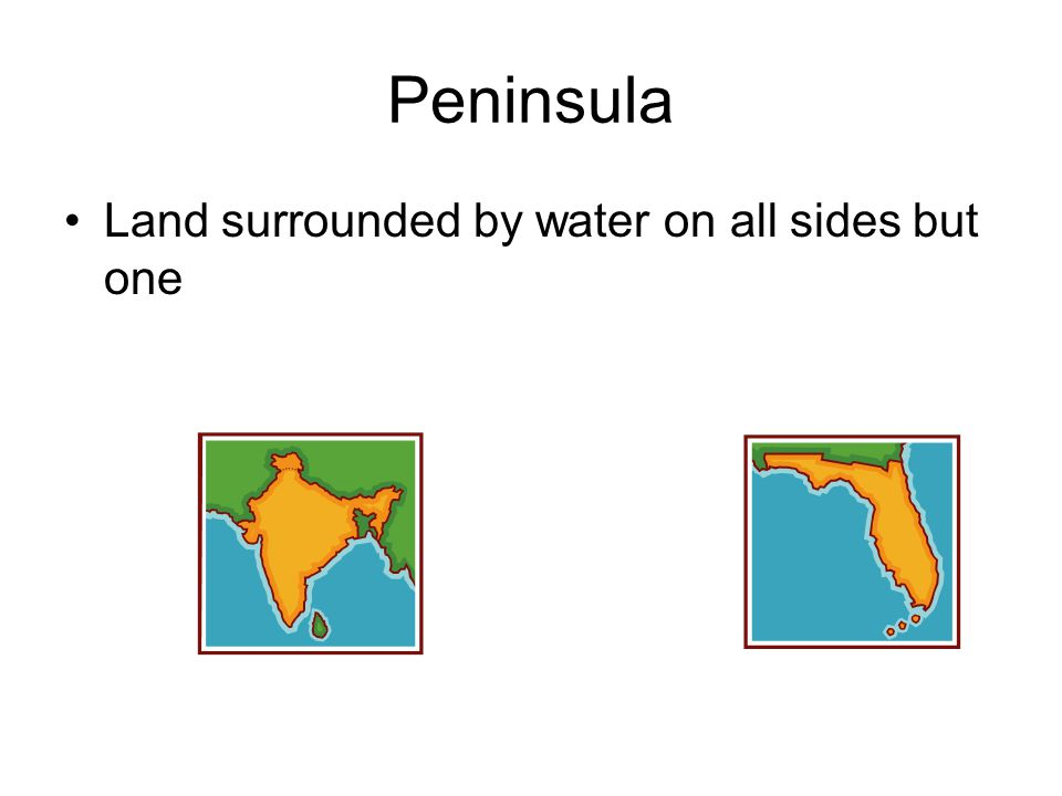 Peninsula Land surrounded by water on all sides but one