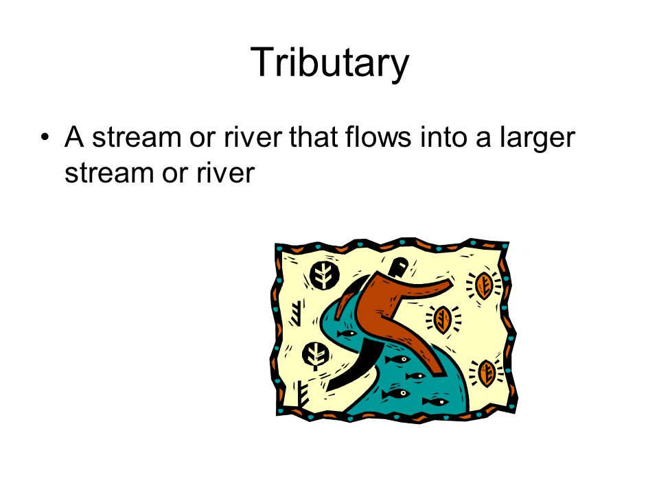 Tributary A stream or river that flows into a larger stream or river