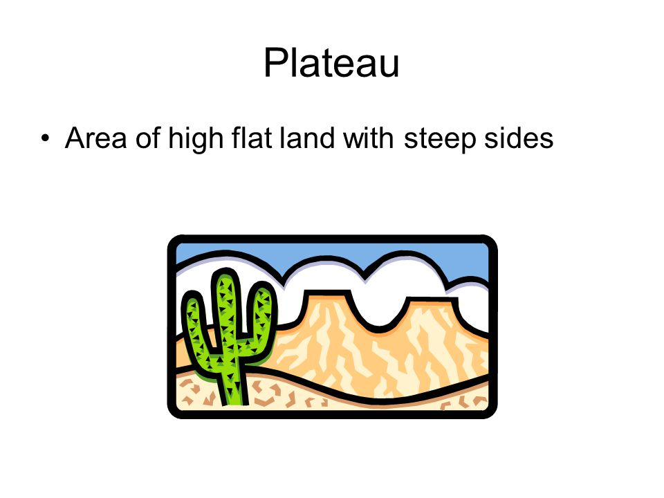 Plateau Area of high flat land with steep sides