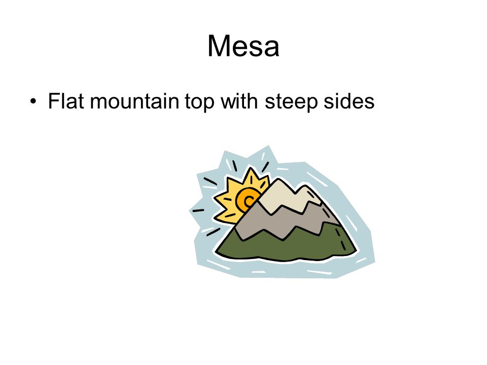 Mesa Flat mountain top with steep sides