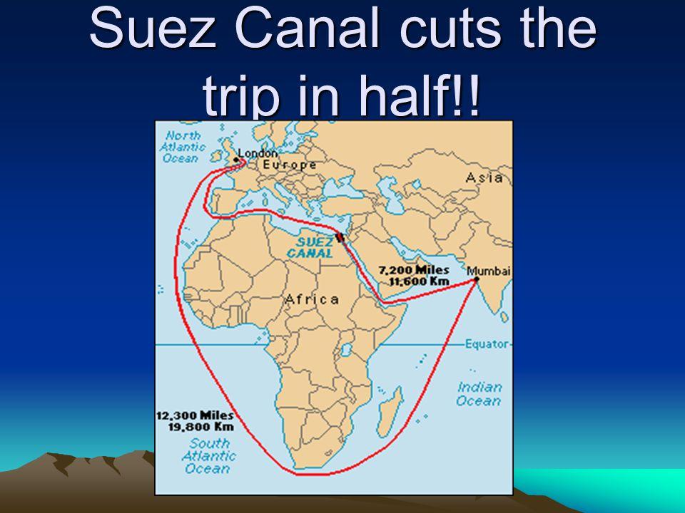 Suez Canal cuts the trip in half!!