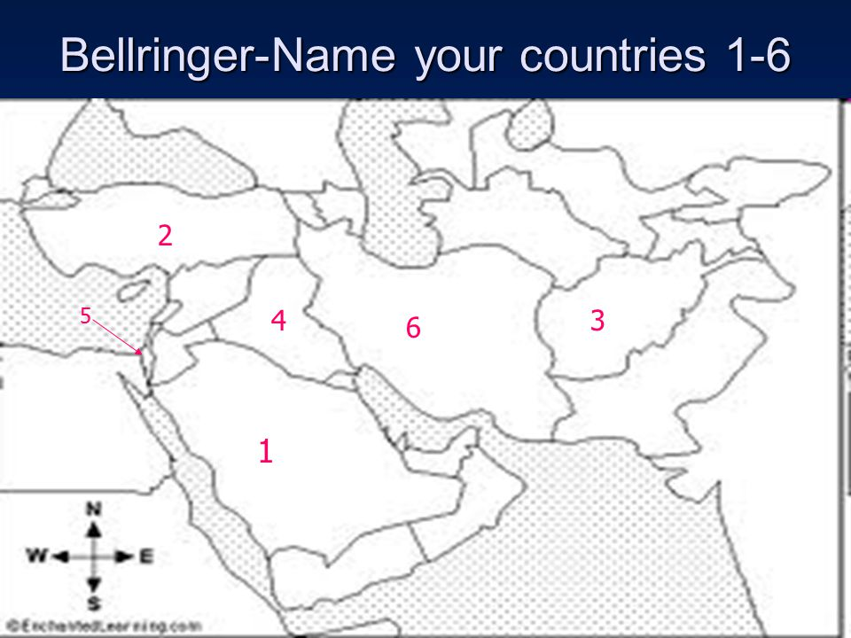 Bellringer-Name your countries 1-6