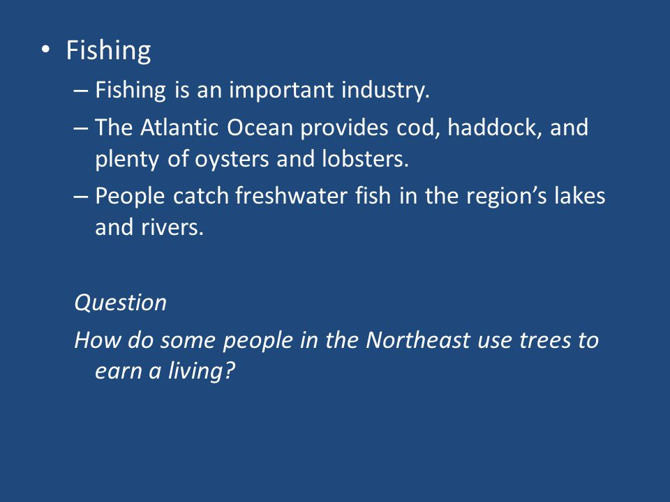 Fishing Fishing is an important industry.