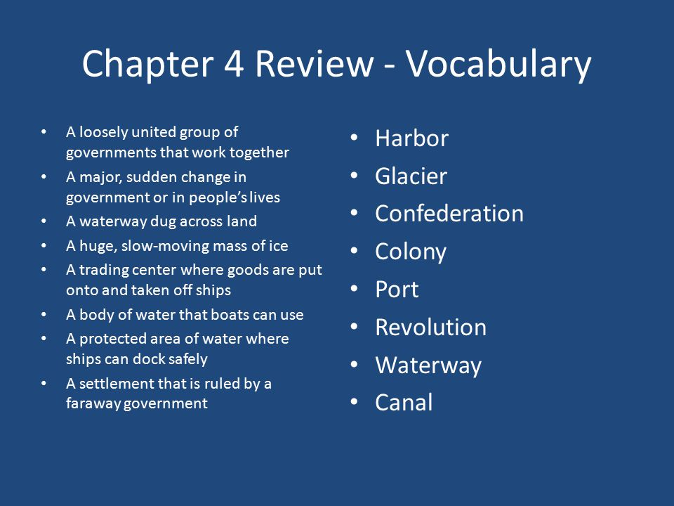 Chapter 4 Review - Vocabulary