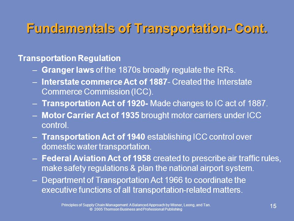 Fundamentals of Transportation- Cont.