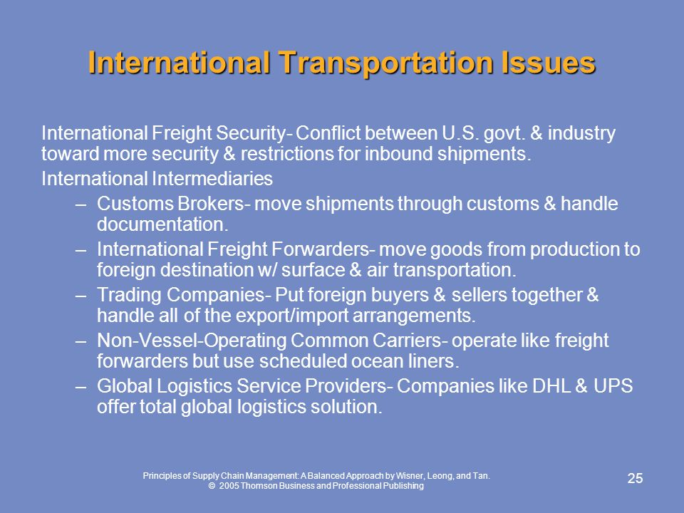 International Transportation Issues
