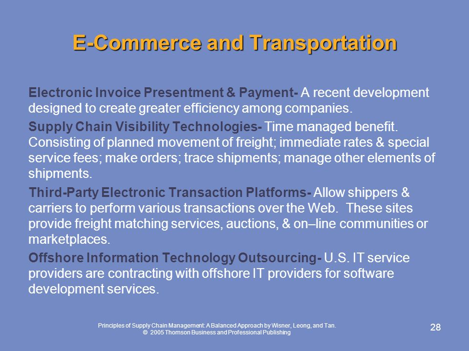 E-Commerce and Transportation