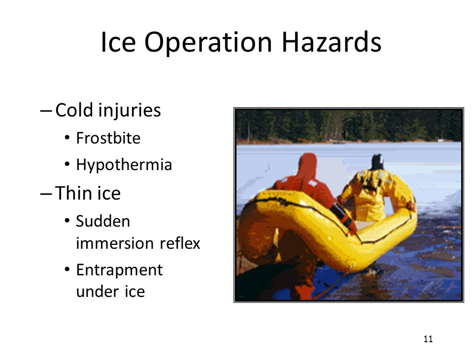 Ice Operation Hazards Cold injuries Thin ice Frostbite Hypothermia