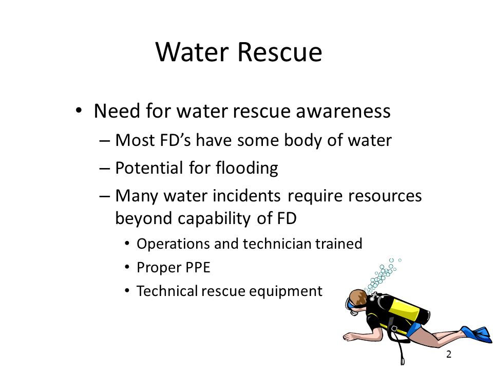 Water Rescue Need for water rescue awareness