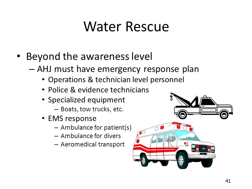 Water Rescue Beyond the awareness level