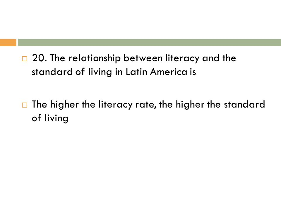 20. The relationship between literacy and the standard of living in Latin America is