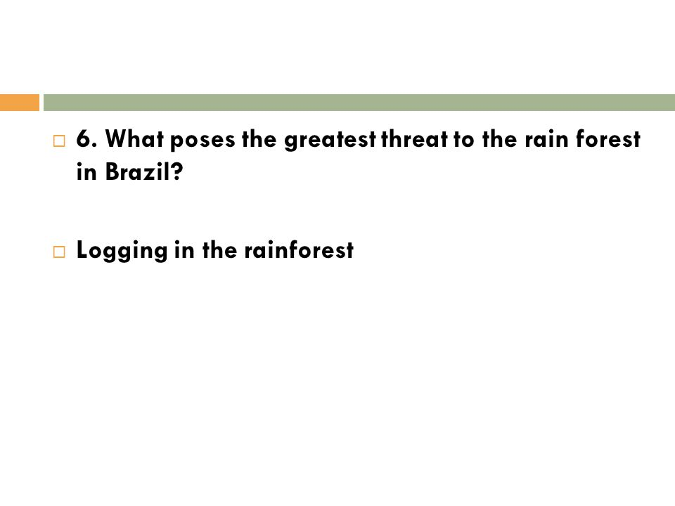 6. What poses the greatest threat to the rain forest in Brazil