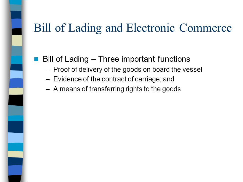 Bill of Lading and Electronic Commerce