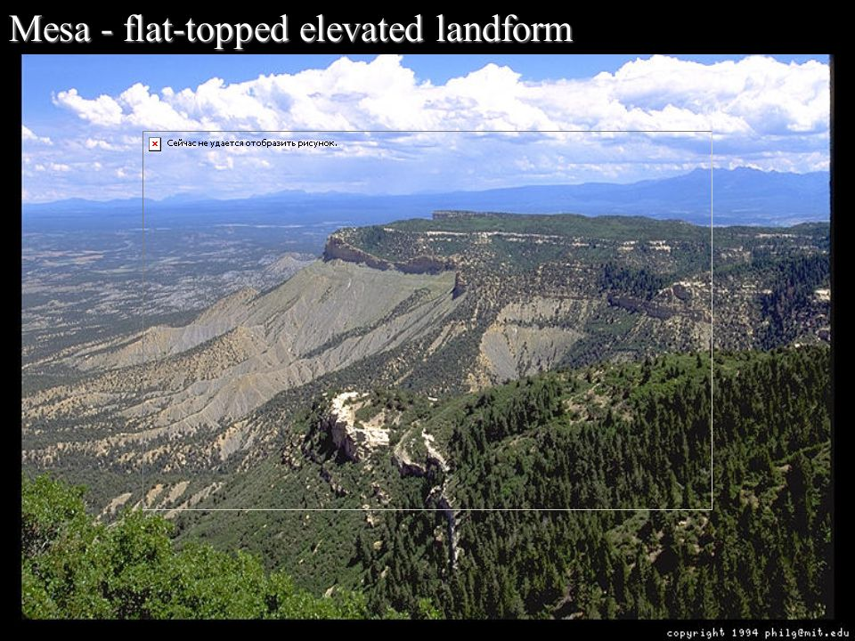 Mesa - flat-topped elevated landform