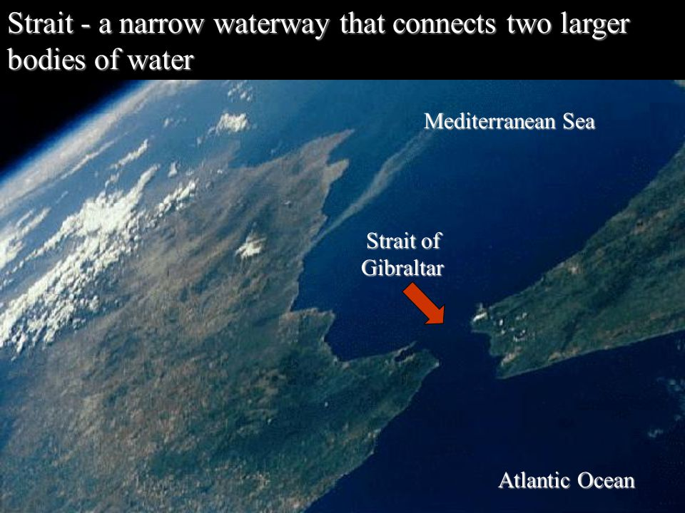 Strait - a narrow waterway that connects two larger bodies of water