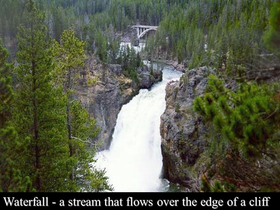 Waterfall - a stream that flows over the edge of a cliff