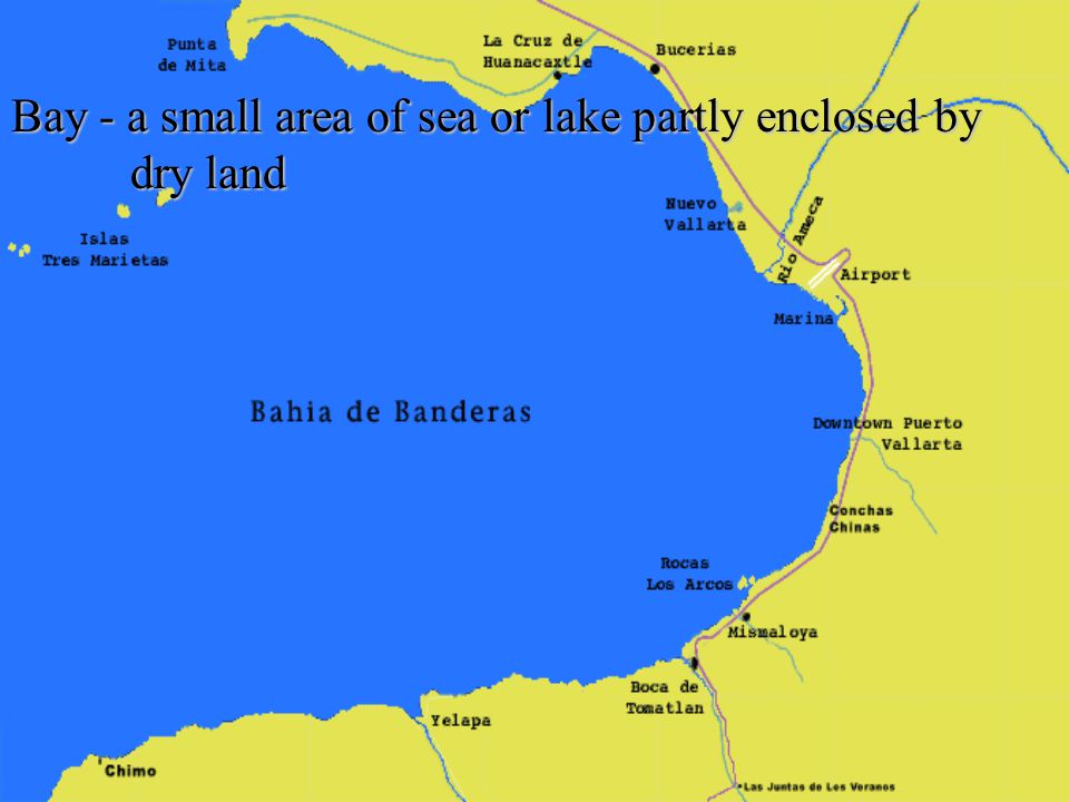 Bay - a small area of sea or lake partly enclosed by dry land
