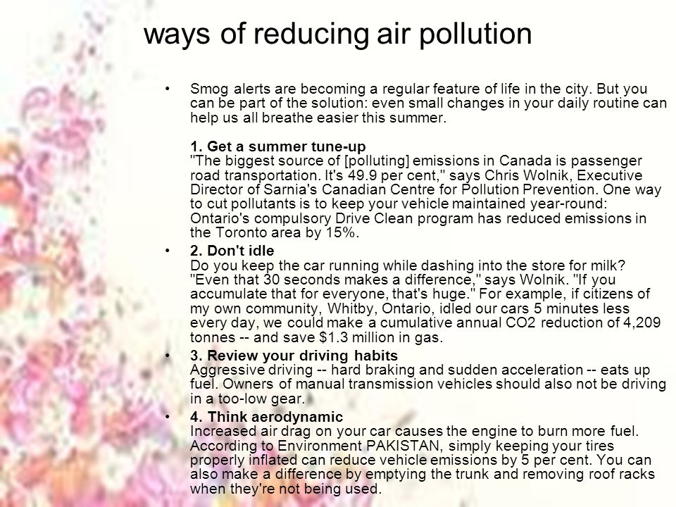 Ways to reduce pollution