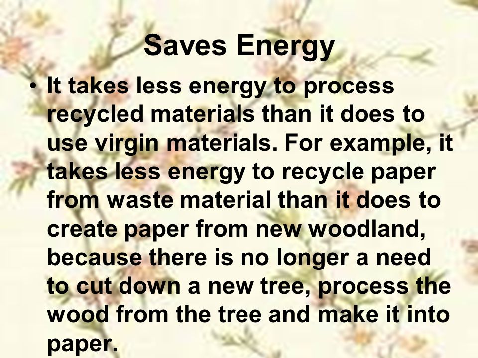 Saves Energy
