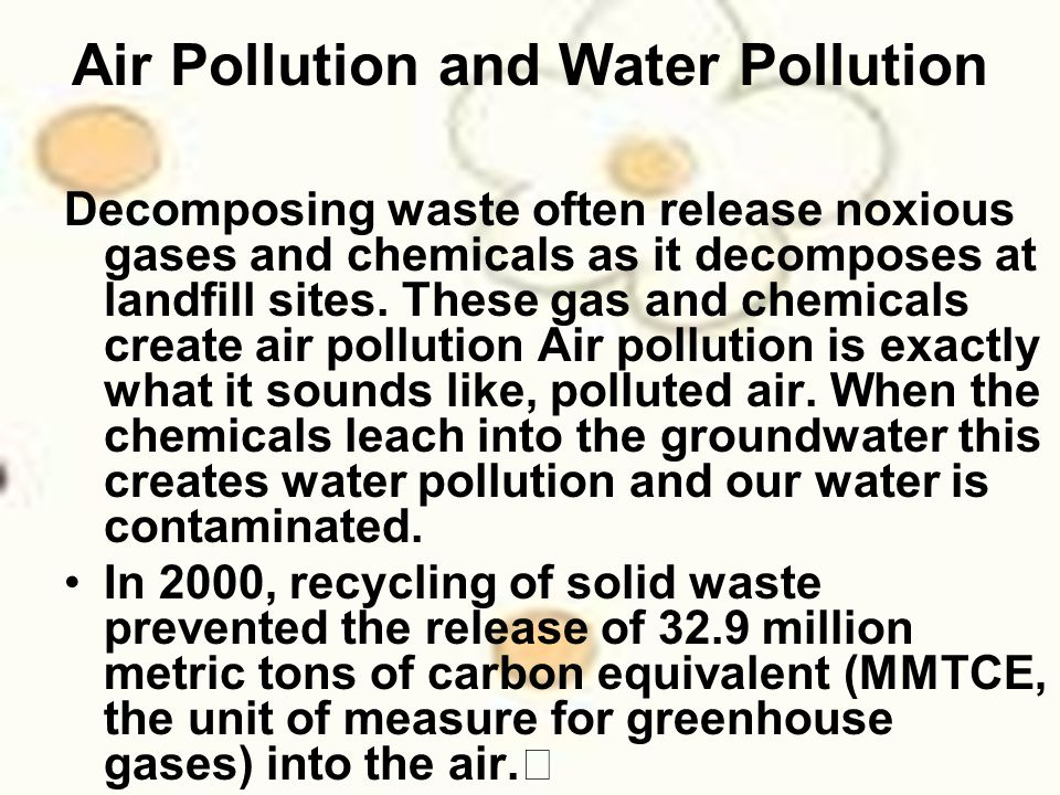 Air Pollution and Water Pollution