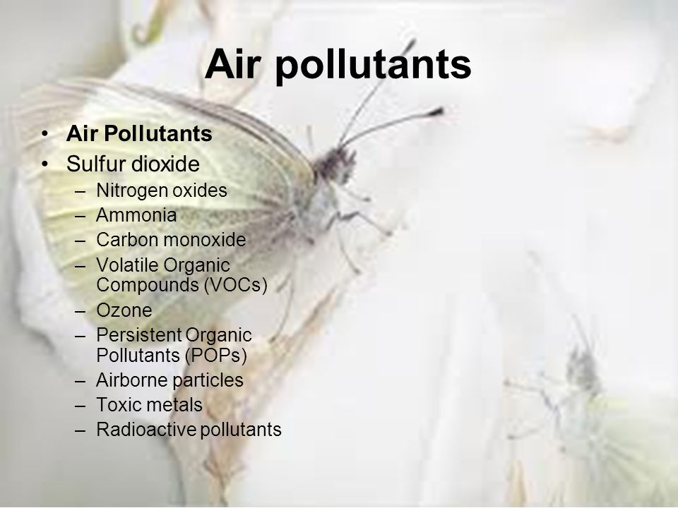 Air pollutants Air Pollutants Sulfur dioxide Nitrogen oxides Ammonia