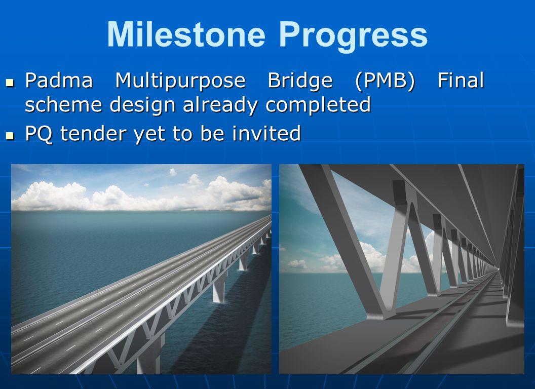 Milestone Progress Padma Multipurpose Bridge (PMB) Final scheme design already completed. PQ tender yet to be invited.