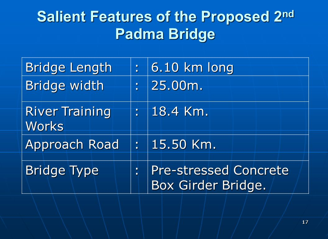 Salient Features of the Proposed 2nd Padma Bridge
