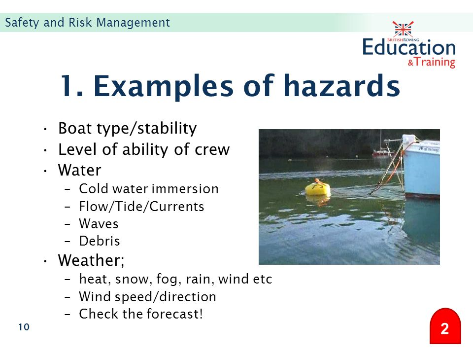 1. Examples of hazards Boat type/stability Level of ability of crew